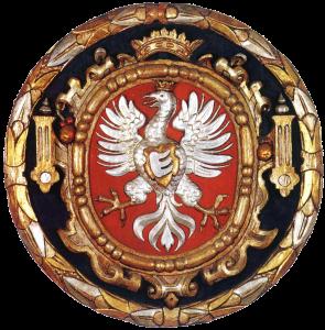 Orzeł Stefana Batorego z herbem rodowym Kły (1580)