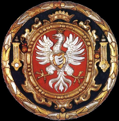 Orzeł z herbem rodowym Stefana Batorego (1580)