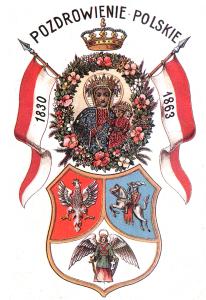 pocztówka patriotyczna z symboliką powstania styczniowego z początku XX wieku