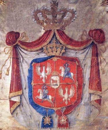 Herb wielki Rzeczypospolitej Obojga Narodów z herbem Ciołek Poniatowskich (1780)