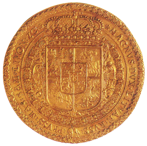 Herb Zygmunta III Wazy na monecie 100-dukatowej (1621)